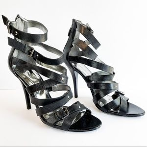 Marc Fisher Nollie Black Strappy Cage Heels